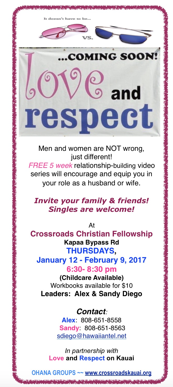 Workbooks christian workbooks for women : Love & Respect | Crossroads Christian Fellowship